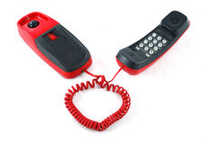 Red phone, heart shaped cable Royalty Free Stock Photos