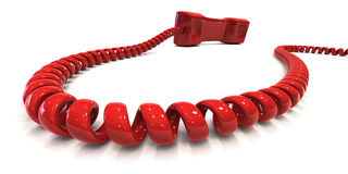 Red phone - Hotline. Red telephone with coiled cord isolated over white, symbolizing hotline. Clipping path included to easily change color of phone and/or Stock Photos