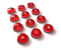 Red phone keyboard Royalty Free Stock Images