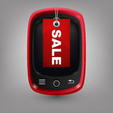 Red phone with labal sale Royalty Free Stock Images