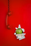 Red phone and piggy bank Royalty Free Stock Photo