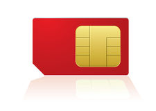 Red phone sim Royalty Free Stock Image