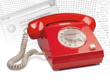 Red Phone Support. A vintage red phone. this item is conceptual for help, support, help desk,etc Stock Photography