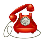 Red phone. On a white background Stock Photography