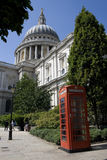 Red phonebox in front of St Pauls Cathedral Stock Photography