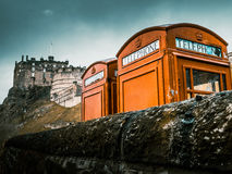 Red Phoneboxes By Edinburgh Castle Royalty Free Stock Images