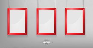 Red photo frame Mockup. Vector Illustration. Red photo frame Mockup Vector Illustration. Empty red photo frames mockup on a concrete wall Stock Photos