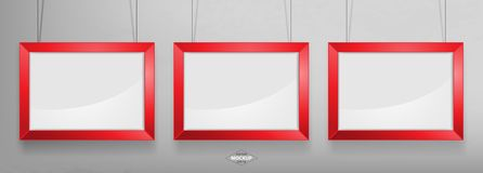 Red photo frame Mockup. Vector Illustration. Red photo frame Mockup Vector Illustration. Empty red photo frames mockup on a concrete wall Royalty Free Stock Photography