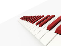 Red piano keyboard concept rendered Stock Images