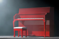 Red Piano in the volumetric light. 3d Rendering Stock Photos