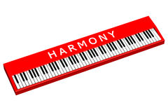 Red piano with word harmony Stock Photos