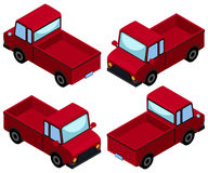 Red pick up trucks from four different angles Stock Images