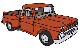 Red pick-up. Vector illustration, hand drawing Vector Illustration