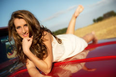 On the red pickup royalty free stock image