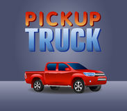 Red Pickup truck car 4X4 realistic vector illustration. Pickup green truck car poster vector illustration royalty free illustration
