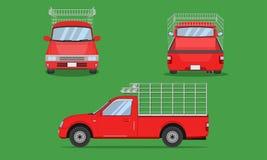 Red pickup truck with car steel grating front side back view transport vector illustration eps10. Red pickup truck with car steel grating front side back view vector illustration