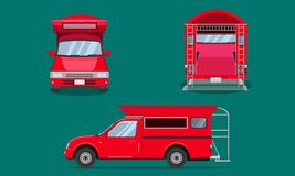 Red pickup truck with car steel grating plastic top cover passenger front side back view transport chiang mai vector illustration. Red pickup truck with car vector illustration