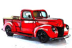 Red pickup truck. Classic pickup truck illustration Stock Photography