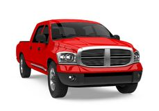 Red Pickup Truck Isolated. On white background. 3D render Stock Photography
