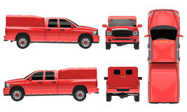 Red pickup truck template isolated car on white background. 3d illustration. Stock Photos