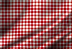 Red picnic cloth. With some smooth folds Stock Photography