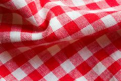 Red picnic cloth closeup. Red picnic cloth background. Retro pattern backdrop Royalty Free Stock Images