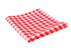 Red picnic cloth isolated on white. Royalty Free Stock Images