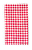 Red picnic cloth vertical isolated with shadow. Royalty Free Stock Photo