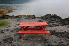 Red Picnic Table Stock Images