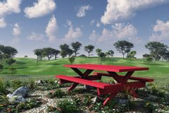 Red Picnic Table Summer Royalty Free Stock Image