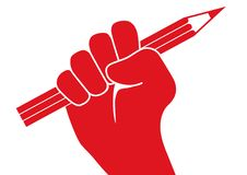 Freedom of the press concept with a fist waving a pencil in protest stock illustration