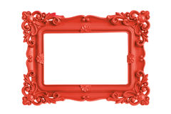 Red Picture Frame. Modern plastic bright red picture frame with antique styling isolated on white background stock images