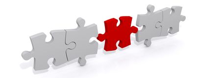 Red piece completing jigsaw. 3d illustration of a red piece completing jigsaw row, white background Stock Images