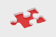 Red piece of puzzle Stock Photography