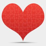Red Piece Puzzle Heart Valentines Day, Love. Red Piece Puzzle Heart. Icon Vector Illustration Isolated on Grey Background. Logotype. Valentines Day, Love vector illustration