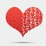 Red Piece Puzzle Heart Valentines Day, Love Stock Photos