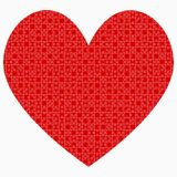Red Piece Puzzle Heart Valentines Day, Love Stock Image