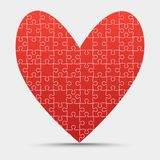 Red Piece Puzzle Heart Valentines Day, Love. Red Piece Puzzle Heart. Icon Vector Illustration Isolated on Grey Background. Logotype. Valentines Day, Love royalty free illustration