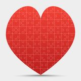 Red Piece Puzzle Heart Valentines Day, Love. Red Piece Puzzle Heart. Icon Vector Illustration Isolated on Grey Background. Logotype. Valentines Day, Love stock illustration
