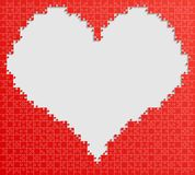 Red Piece Puzzle Jigsaw Heart Background Love Stock Photography