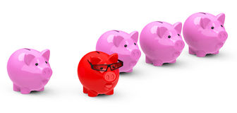The red piggy bank. 3d generated picture of an outstanding red piggy bank Stock Photos