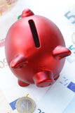 Red piggy bank with euro banknotes Stock Photography
