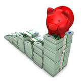 Red Piggy Bank Euro Notes Royalty Free Stock Photography
