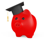 Red Piggy Bank with Graduation Hat Royalty Free Stock Photography