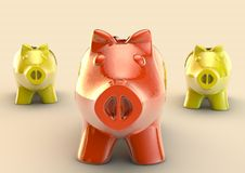 Red piggybank on a group Stock Photo