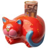 Red piggy bank isolated on white. Money box looks like a cat. There is put 50 euro Royalty Free Stock Image