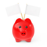 Red Piggy Bank Style Money Box with Blank Flags for Your Text. 3 Royalty Free Stock Image