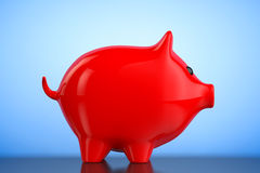 Red Piggy bank style money box. 3d Rendering Royalty Free Stock Photos