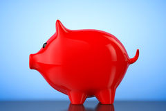 Red Piggy bank style money box. 3d Rendering Royalty Free Stock Photo