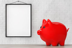 Red Piggy bank style money box in front of Brick Wall with Blank Stock Photography